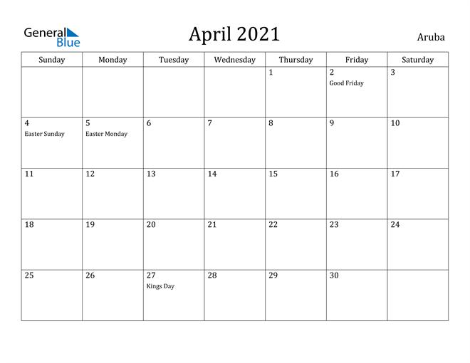 Image of April 2021 Aruba Calendar with Holidays Calendar
