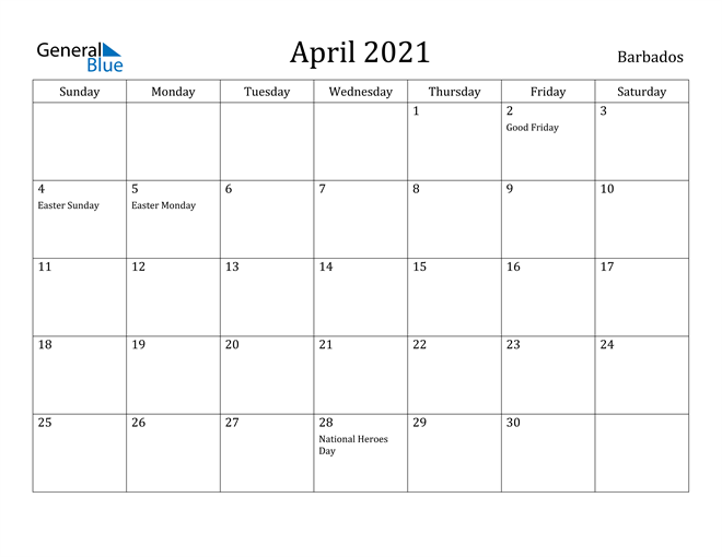 Image of April 2021 Barbados Calendar with Holidays Calendar