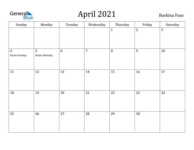 Image of April 2021 Burkina Faso Calendar with Holidays Calendar