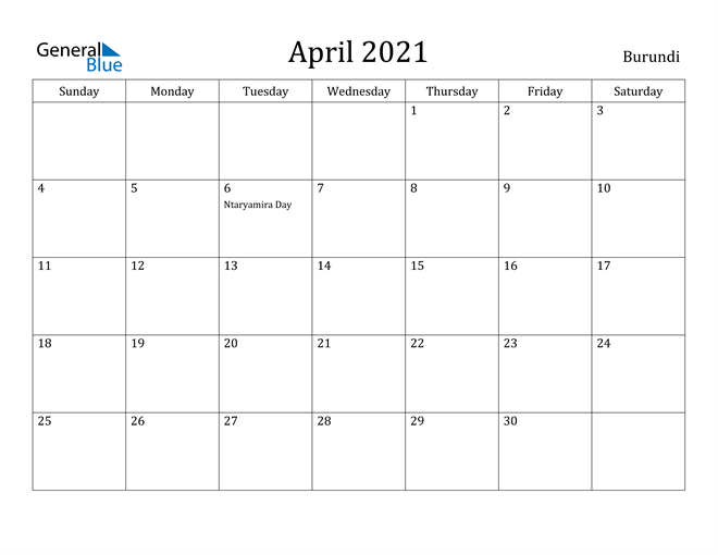 Image of April 2021 Burundi Calendar with Holidays Calendar