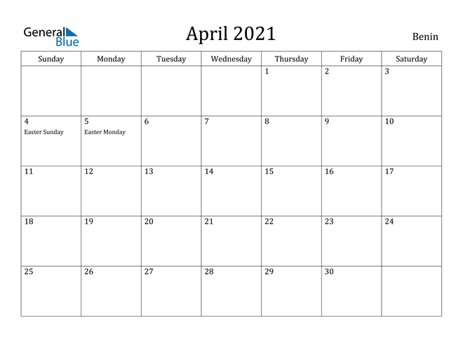 Image of April 2021 Benin Calendar with Holidays Calendar