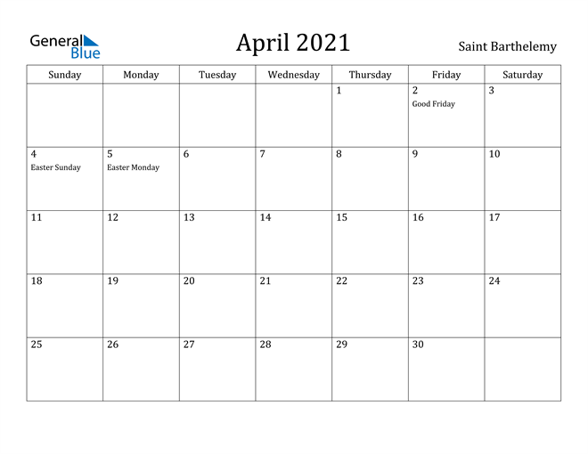 Image of April 2021 Saint Barthelemy Calendar with Holidays Calendar