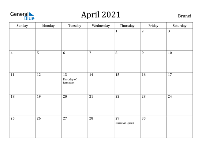 Image of April 2021 Brunei Calendar with Holidays Calendar