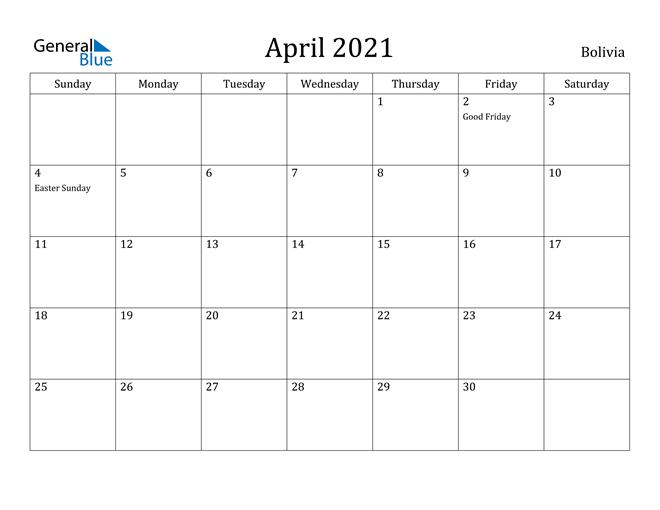 Image of April 2021 Bolivia Calendar with Holidays Calendar