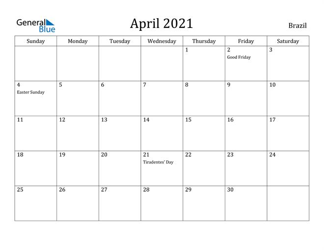 Image of April 2021 Brazil Calendar with Holidays Calendar