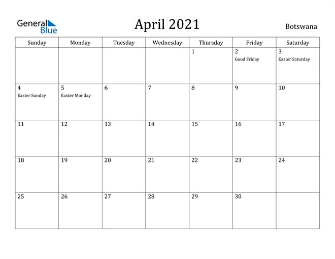 Image of April 2021 Botswana Calendar with Holidays Calendar
