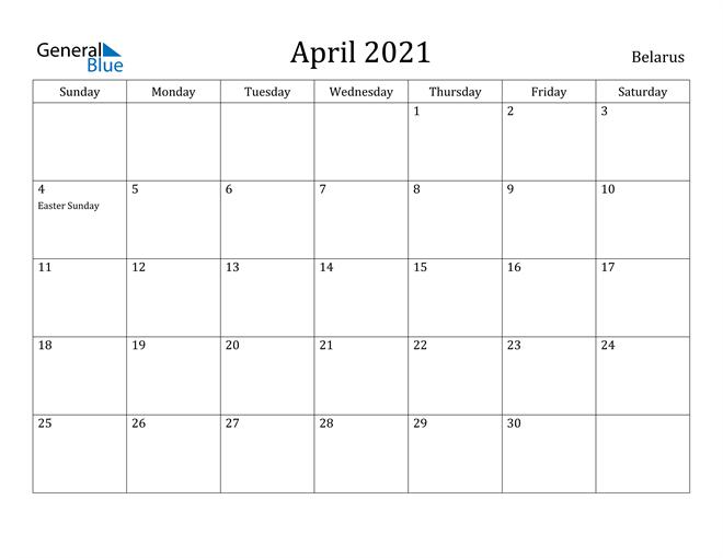 Image of April 2021 Belarus Calendar with Holidays Calendar