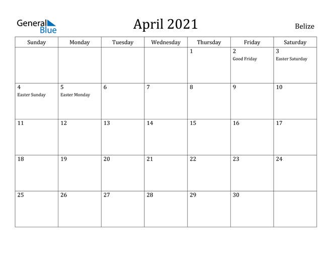 Image of April 2021 Belize Calendar with Holidays Calendar