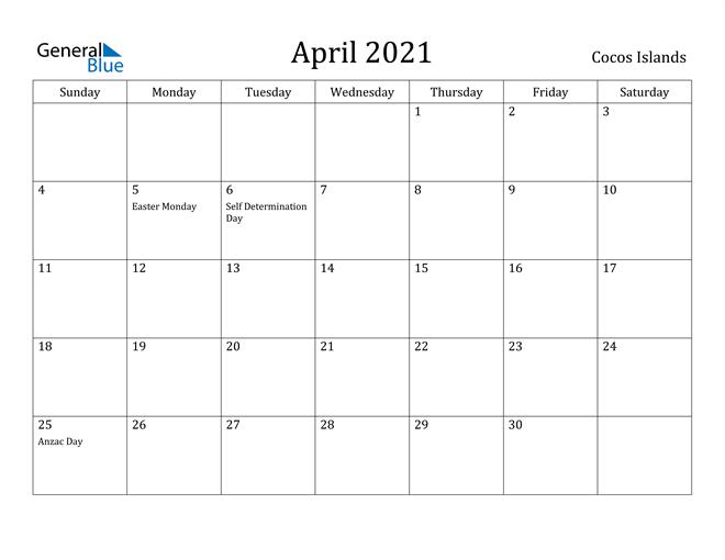 Image of April 2021 Cocos Islands Calendar with Holidays Calendar