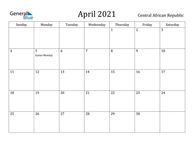 Image of April 2021 Central African Republic Calendar with Holidays Calendar