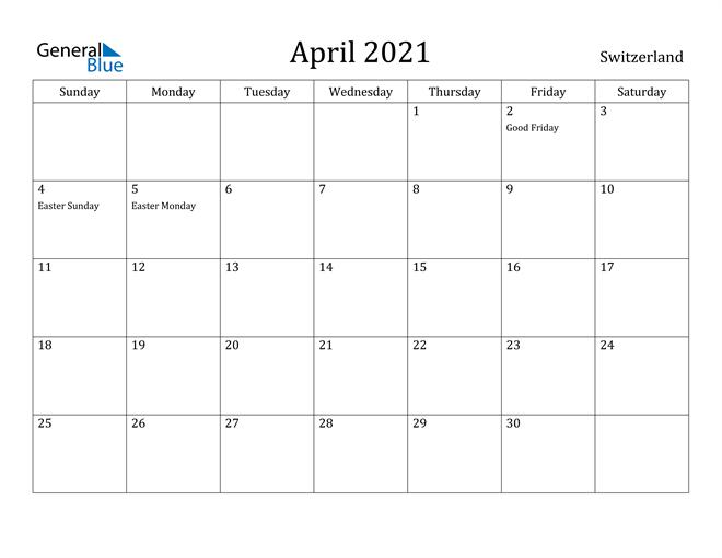 Image of April 2021 Switzerland Calendar with Holidays Calendar