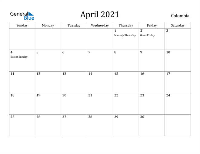 Image of April 2021 Colombia Calendar with Holidays Calendar