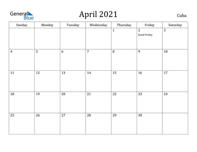Image of April 2021 Cuba Calendar with Holidays Calendar