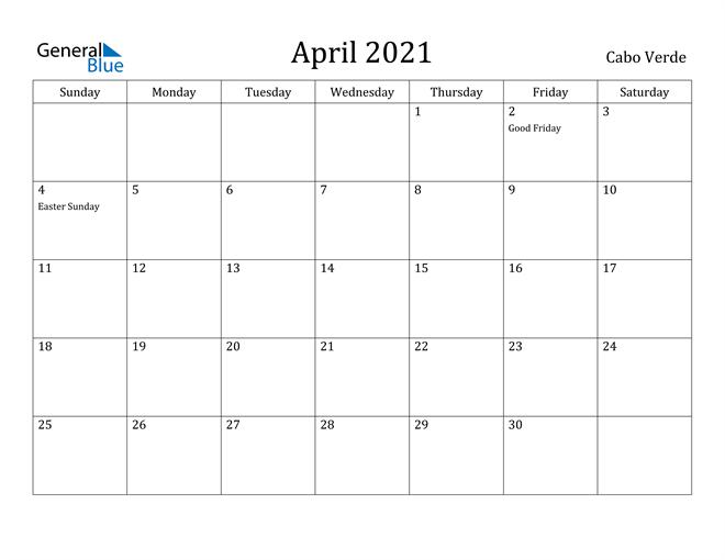 Image of April 2021 Cabo Verde Calendar with Holidays Calendar