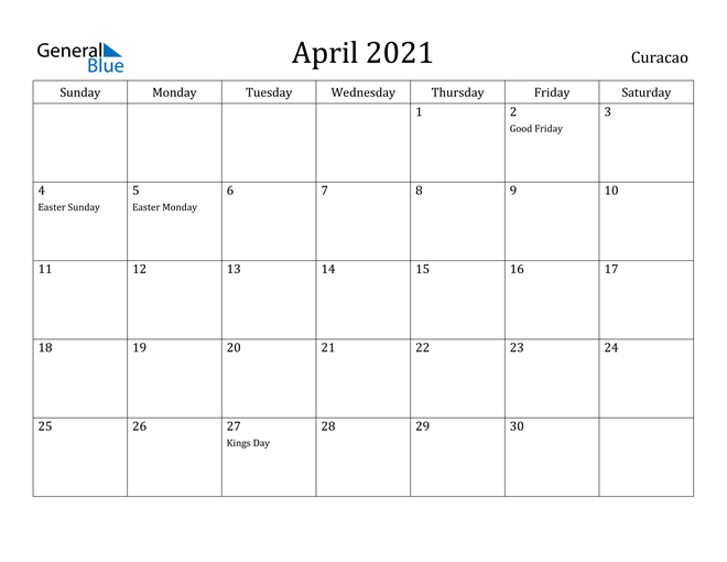 Image of April 2021 Curacao Calendar with Holidays Calendar