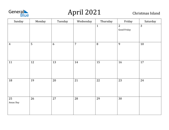 Image of April 2021 Christmas Island Calendar with Holidays Calendar