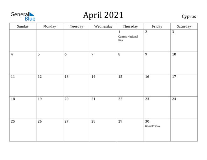 Image of April 2021 Cyprus Calendar with Holidays Calendar