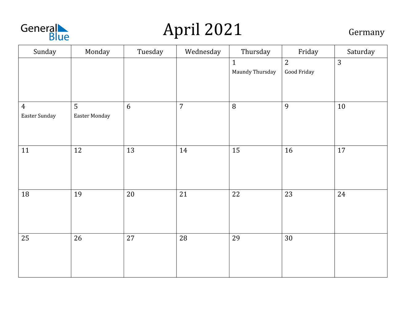 April 2021 Calendar - Germany