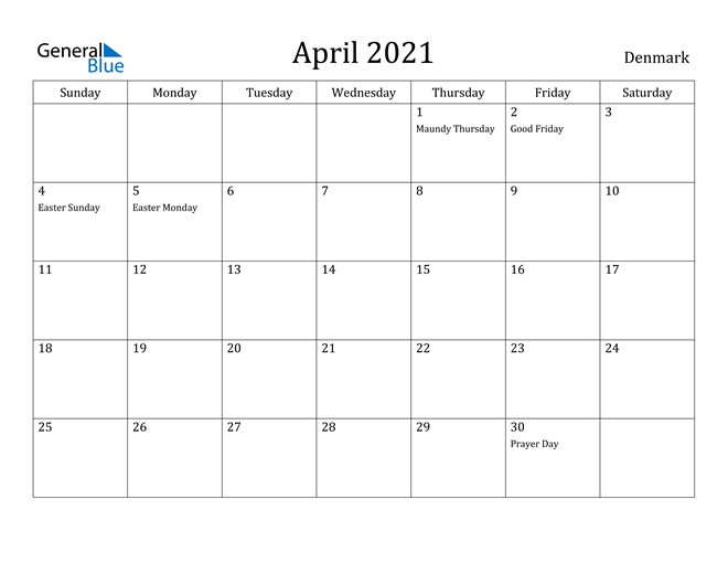 Image of April 2021 Denmark Calendar with Holidays Calendar