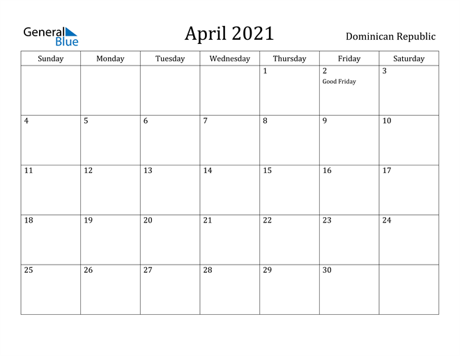 Image of April 2021 Dominican Republic Calendar with Holidays Calendar