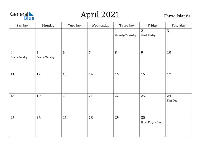 Image of April 2021 Faroe Islands Calendar with Holidays Calendar
