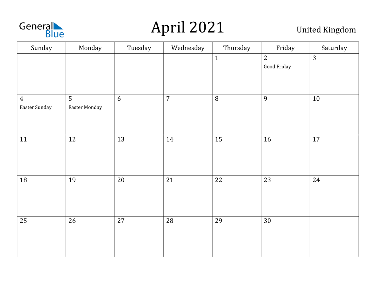 April 2021 Calendar - United Kingdom