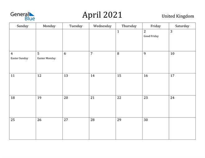 Image of April 2021 United Kingdom Calendar with Holidays Calendar