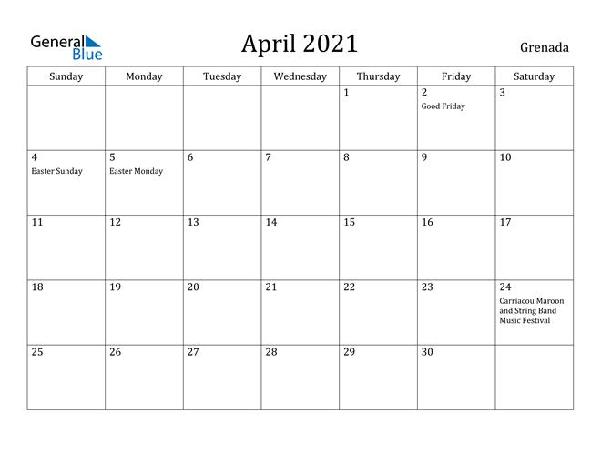 Image of April 2021 Grenada Calendar with Holidays Calendar
