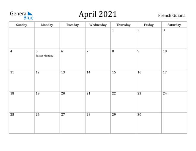Image of April 2021 French Guiana Calendar with Holidays Calendar