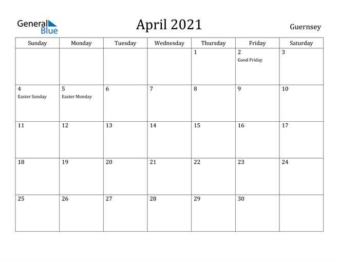 Image of April 2021 Guernsey Calendar with Holidays Calendar