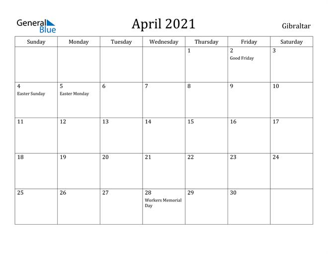 Image of April 2021 Gibraltar Calendar with Holidays Calendar
