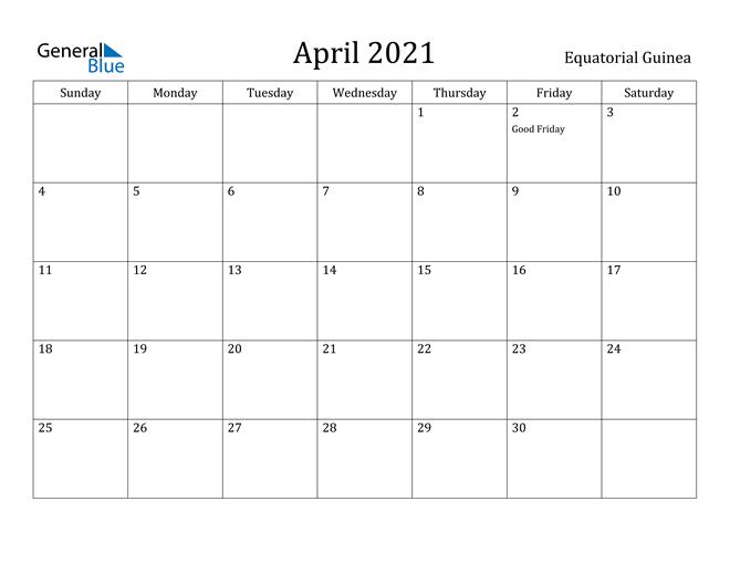 Image of April 2021 Equatorial Guinea Calendar with Holidays Calendar