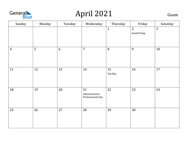 Image of April 2021 Guam Calendar with Holidays Calendar