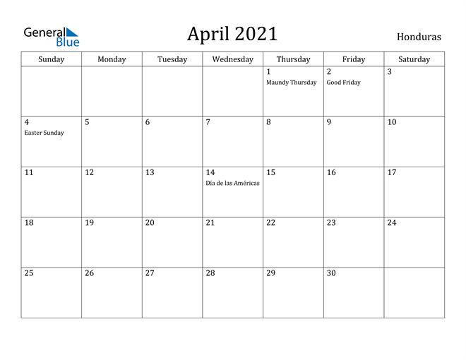Image of April 2021 Honduras Calendar with Holidays Calendar