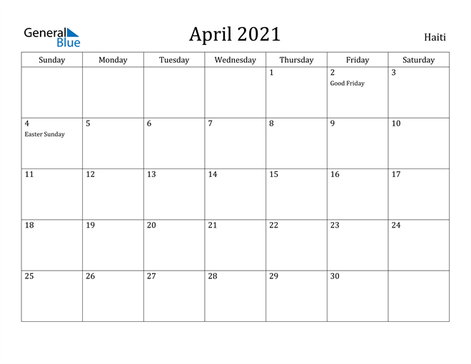Image of April 2021 Haiti Calendar with Holidays Calendar