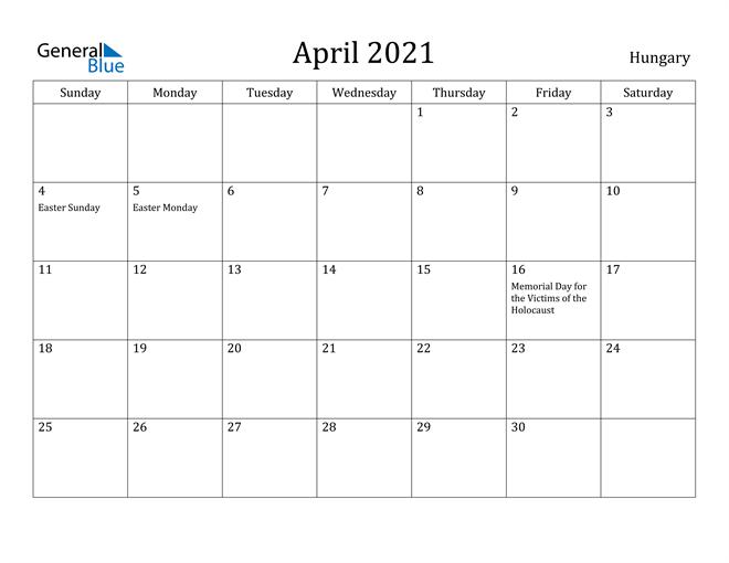 Image of April 2021 Hungary Calendar with Holidays Calendar