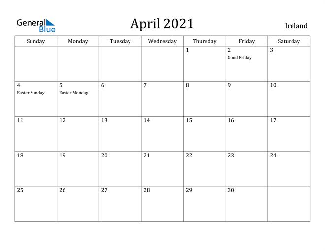 Image of April 2021 Ireland Calendar with Holidays Calendar