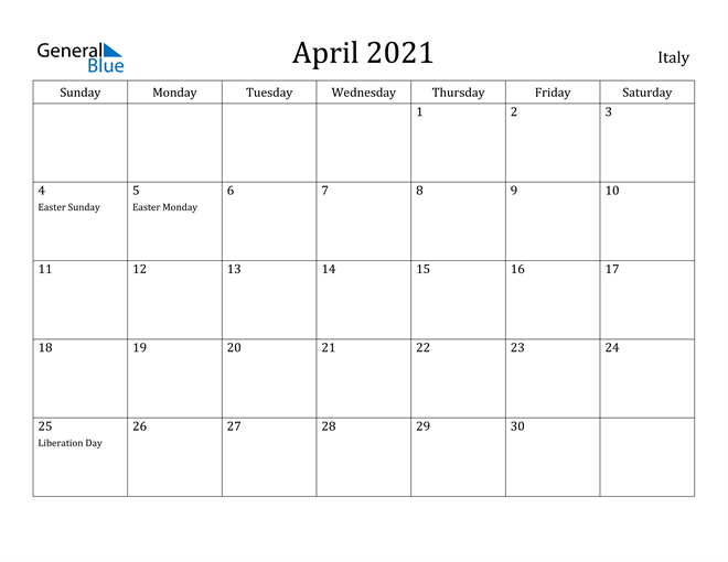 Image of April 2021 Italy Calendar with Holidays Calendar