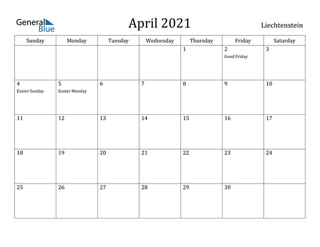 Image of April 2021 Liechtenstein Calendar with Holidays Calendar