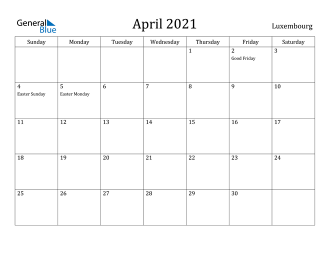 Image of April 2021 Luxembourg Calendar with Holidays Calendar