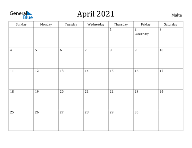 Image of April 2021 Malta Calendar with Holidays Calendar