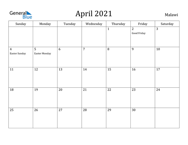 Image of April 2021 Malawi Calendar with Holidays Calendar