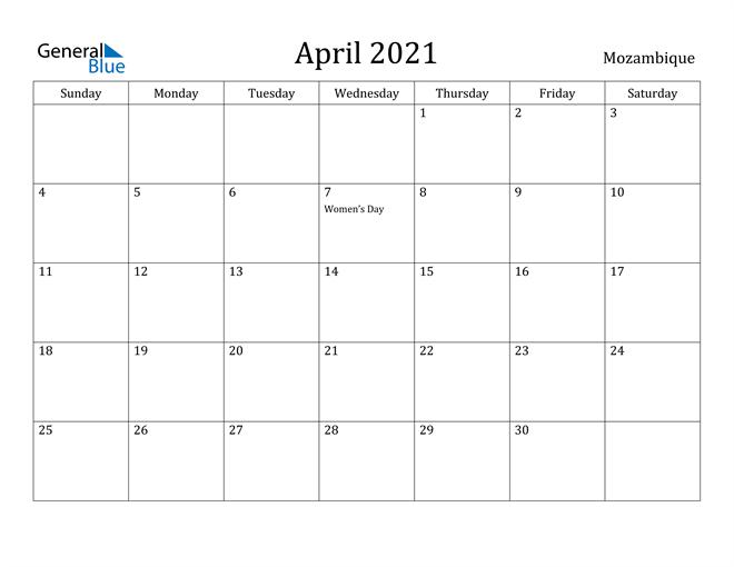 Image of April 2021 Mozambique Calendar with Holidays Calendar