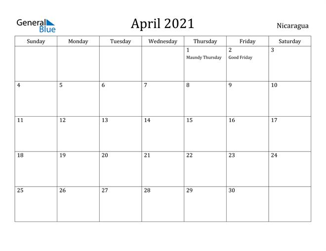 Image of April 2021 Nicaragua Calendar with Holidays Calendar
