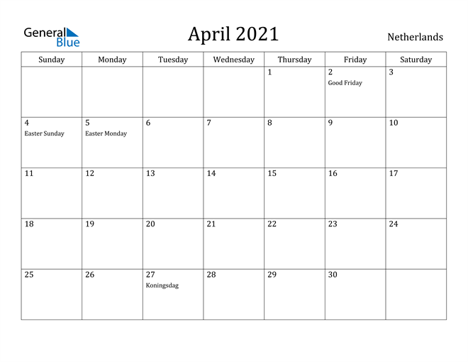 Image of April 2021 Netherlands Calendar with Holidays Calendar