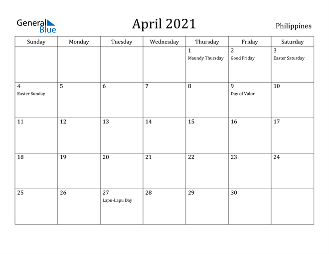 Image of April 2021 Philippines Calendar with Holidays Calendar