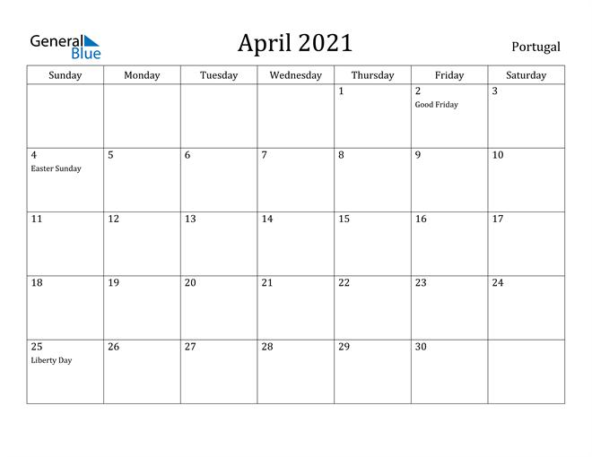Image of April 2021 Portugal Calendar with Holidays Calendar