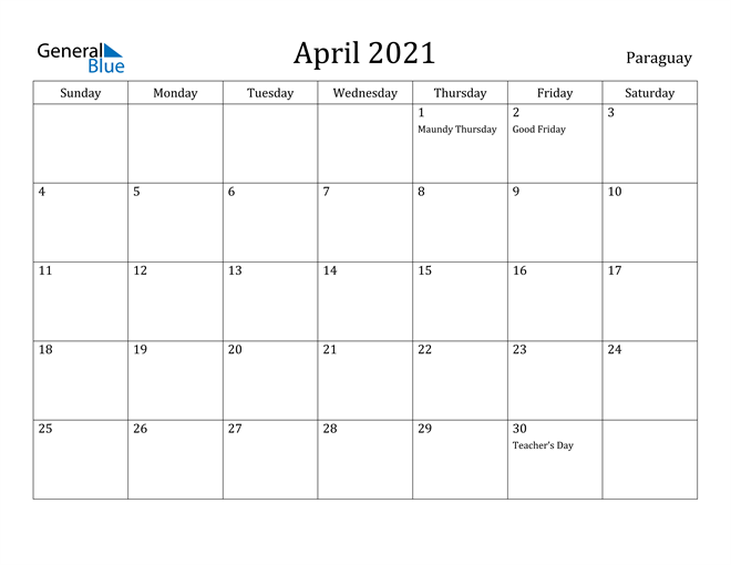 Image of April 2021 Paraguay Calendar with Holidays Calendar