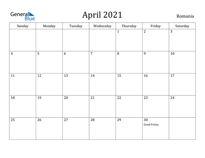 Image of April 2021 Romania Calendar with Holidays Calendar