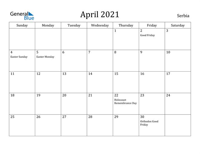 Image of April 2021 Serbia Calendar with Holidays Calendar